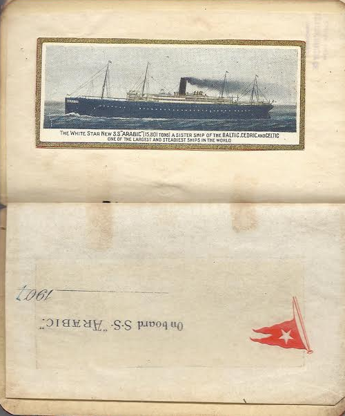The last page of the diary has staitionery from Arabic,  which includes an image of the ship, pasted into it